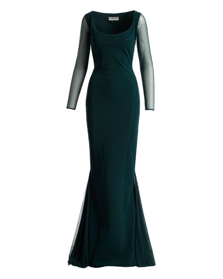 Babs Sheer Long-Sleeve Mermaid Gown