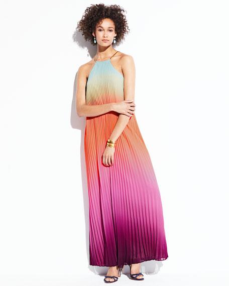 Sleeveless Halter Sunset Ombre Pleated Maxi Dress