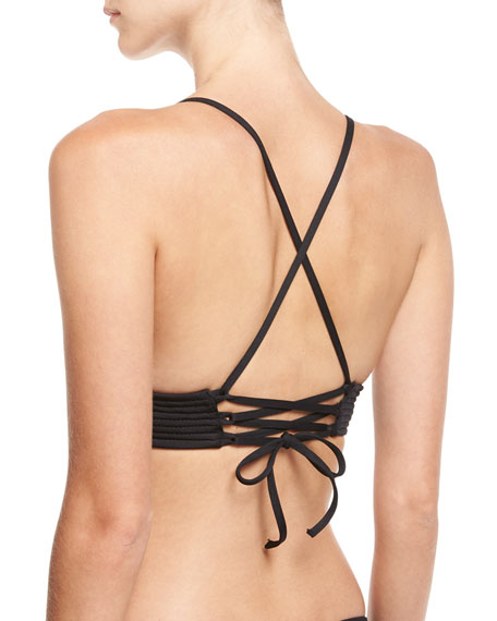 Quilted Fixed Triangle Swim Top, Black