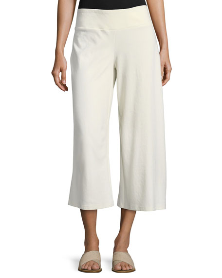 Eileen Fisher Cotton-Blend Ponte Wide-Leg Pants and Matching