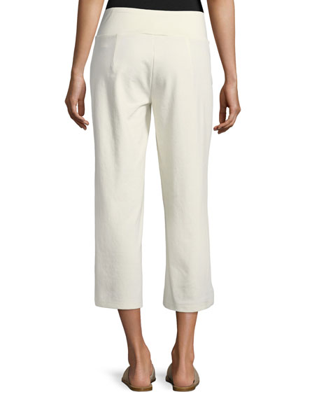 Cotton-Blend Ponte Wide-Leg Pants, Petite