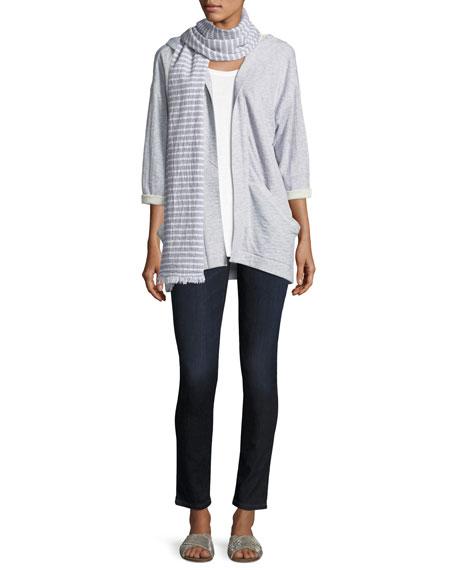 Hooded Heathered Organic Cotton Kimono Jacket, Plus Size