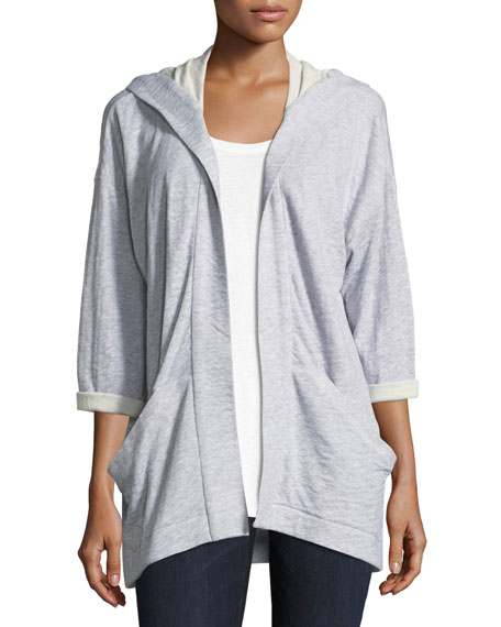 Eileen Fisher Hooded Heathered Organic Cotton Kimono Jacket,