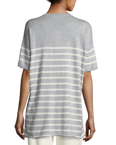 1/2-Sleeve Striped Organic Peruvian Cotton Tunic
