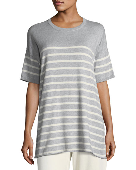 Eileen Fisher 1/2-Sleeve Striped Organic Peruvian Cotton Tunic