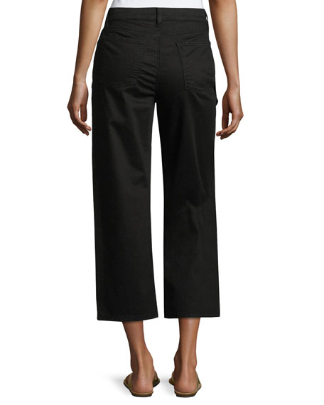 Organic Stretch-Cotton Cropped Wide-Leg Jeans