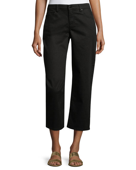 Eileen Fisher Organic Stretch-Cotton Cropped Wide-Leg Jeans