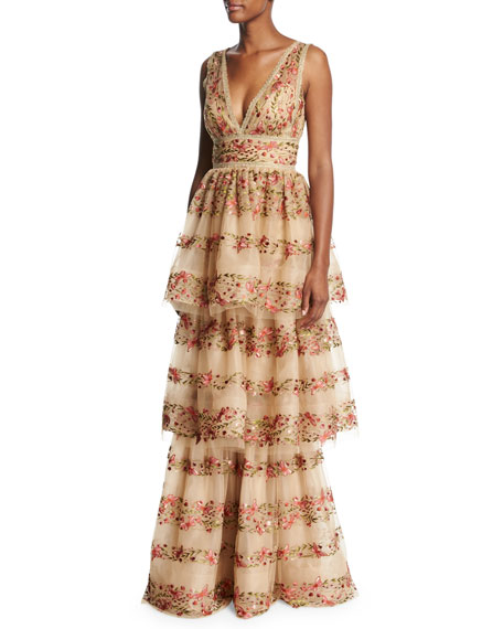 Marchesa Notte Sleeveless Floral-Embroidered V-Neck Gown