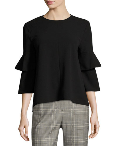 Jewel-Neck Crepe Bell-Sleeve Top