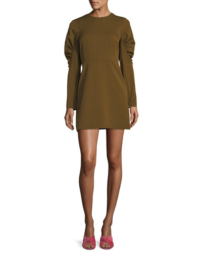 Florence Puff-Sleeve Twill Sheath Dress