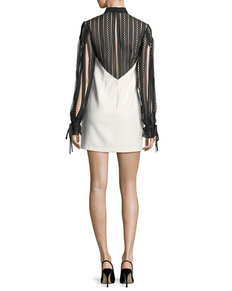 Two-Tone Long-Sleeve Crepe Mini Dress