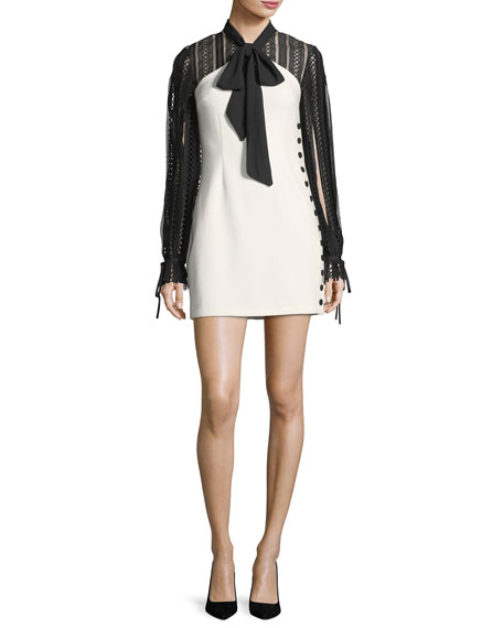 Self-Portrait Two-Tone Long-Sleeve Crepe Mini Dress