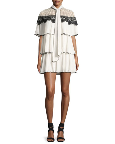 Cape Monochrome Pleated Gazar Cocktail Dress