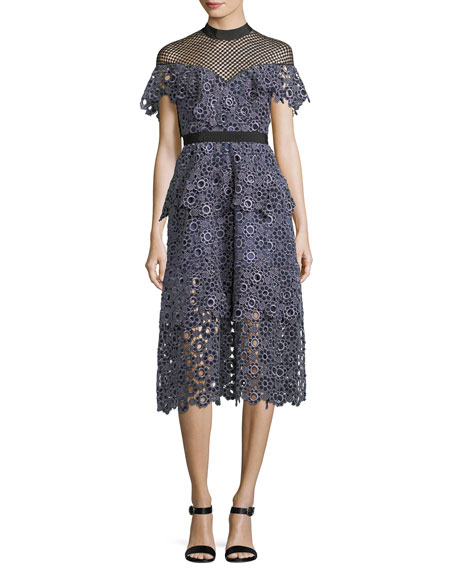 Self-Portrait Yoke Frill Lace-Guipure Midi Cocktail Dress