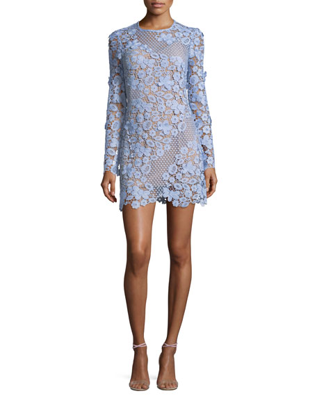 Self-Portrait 3D Floral Guipure Lace Mini Cocktail Dress