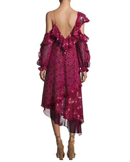 Asymmetric Burnout Print Ruffled Cocktail Dress