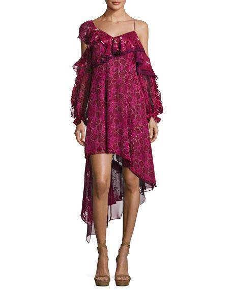 Self-Portrait Asymmetric Burnout Print Ruffled Cocktail Dress