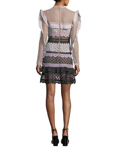 Bellis Frilled-Sleeve Lace Cocktail Dress
