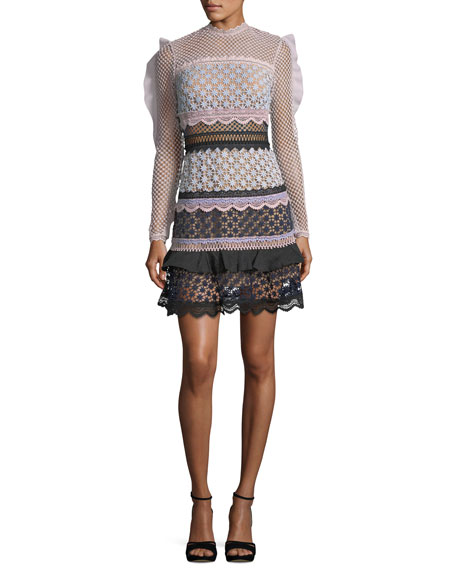 Self-Portrait Bellis Frilled-Sleeve Lace Cocktail Dress