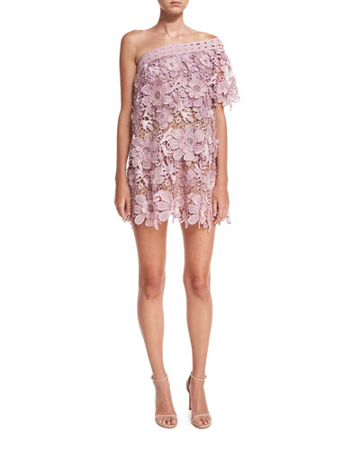 One-Shoulder 3D Floral-Lace Mini Cocktail Dress