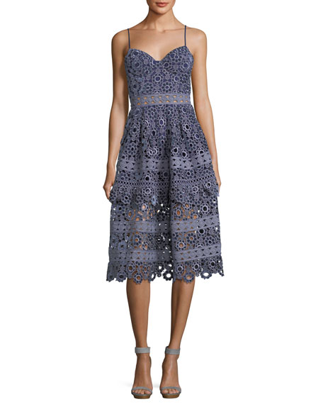 Self-Portrait Floral-Embroidered Cutout Cocktail Midi Dress