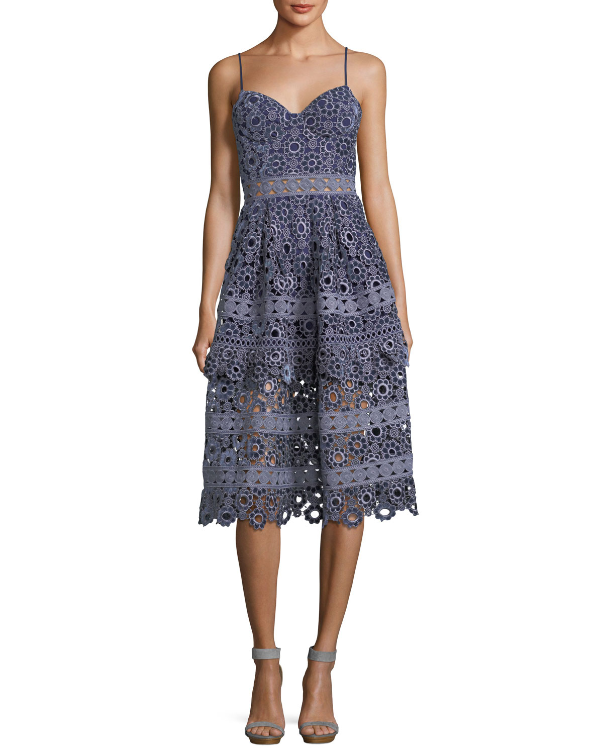 88df8ac416b2 Self-Portrait Floral-Embroidered Cutout Cocktail Midi Dress | Neiman ...