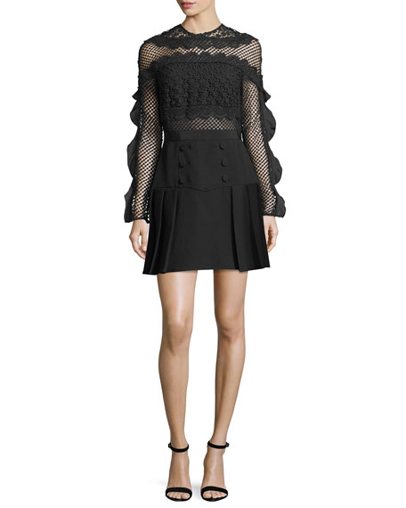 Self-Portrait Bellis Mesh Long-Sleeve Lace-Trim Cocktail Dress
