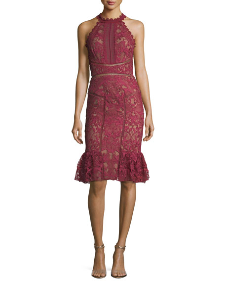 Marchesa Notte Lace Ruffle-Hem Halter Cocktail Dress
