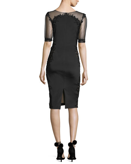 Beaded Stretch-Faille Cocktail Dress
