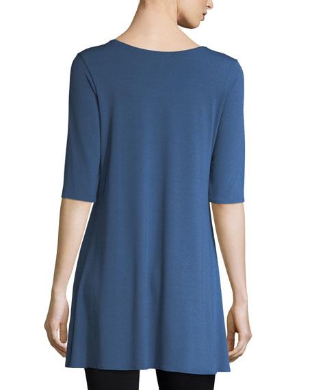 Half-Sleeve Scoop-Neck Jersey Tunic, Petite
