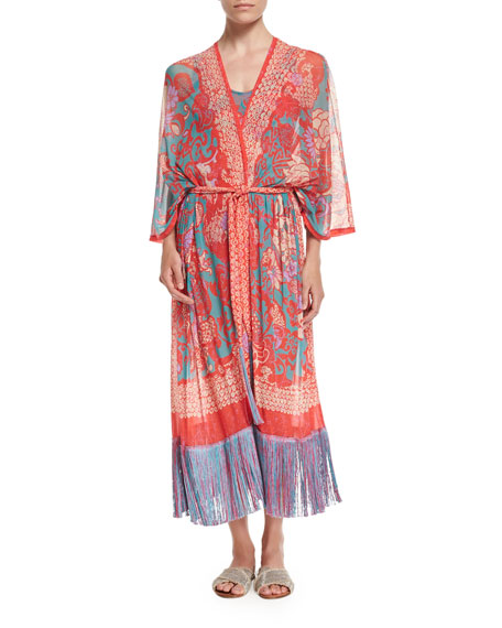 Fringed Long-Sleeve Kimono Robe, Pink