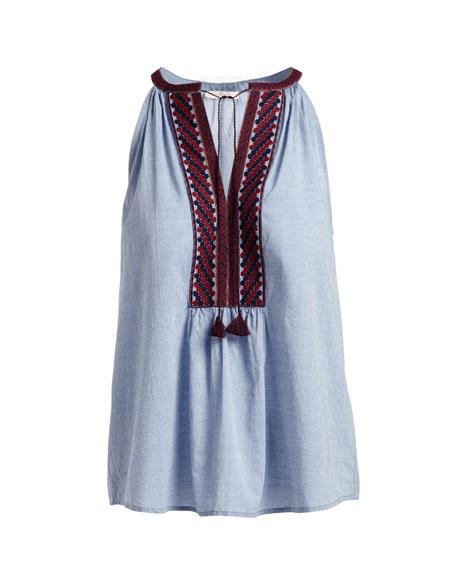 Eniko Q Sleeveless Embroidered Top