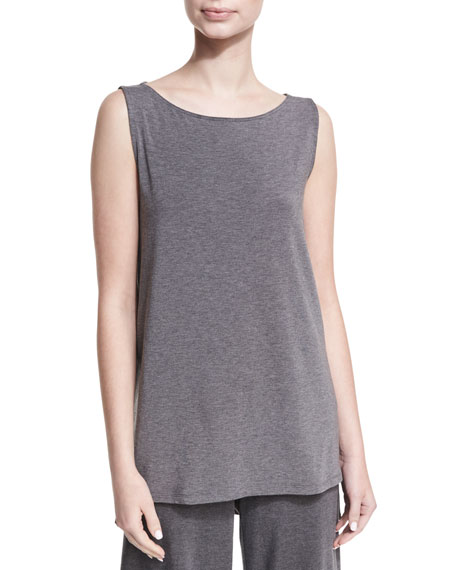 Eileen Fisher Bateau-Neck Lightweight Jersey Tank Top