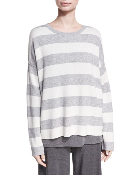 Round-Neck Long-Sleeve Striped Sweater Top, Plus Size