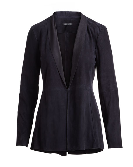 Soft Suede High-Collar Jacket, Plus Size