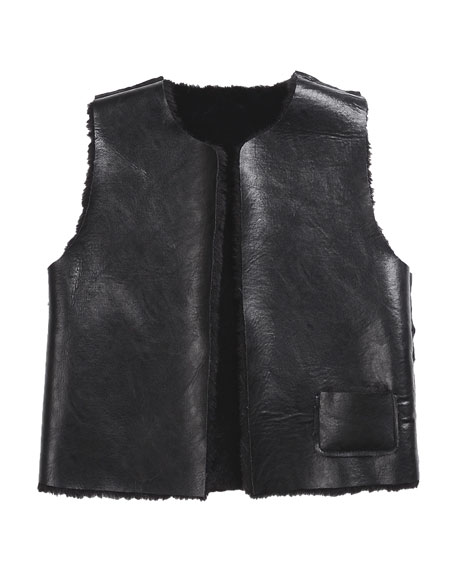 Ellada Faux-Fur Reversible Vest, Black, Size 8-14