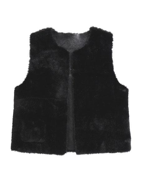 Imoga Ellada Faux-Fur Reversible Vest, Black, Size 2-6