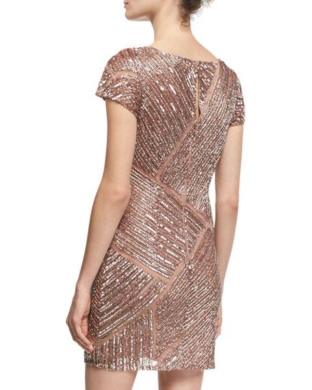 Cap-Sleeve V-Neck Beaded Cocktail Dress, Blush