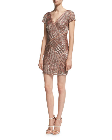 Aidan Mattox Cap-Sleeve V-Neck Beaded Cocktail Dress, Blush