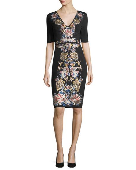 Catherine Deane V-Neck Short-Sleeve Floral-Embroidered Cocktail Dress
