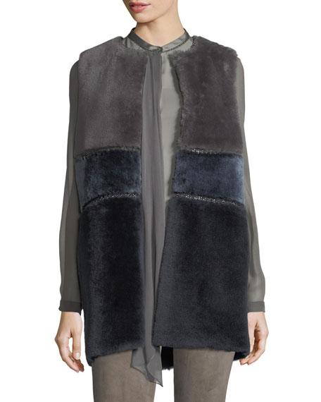 Elie Tahari Emily Colorblocked Shearling Vest