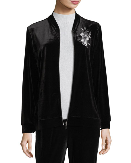 Joan Vass Embroidered Velvet Jacket, Petite and Matching