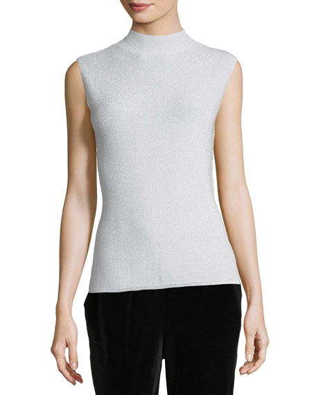 Mock-Neck Metallic Shell, Plus Size