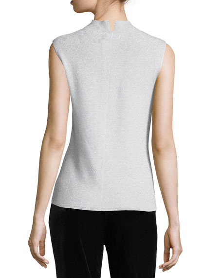 Mock-Neck Metallic Shell