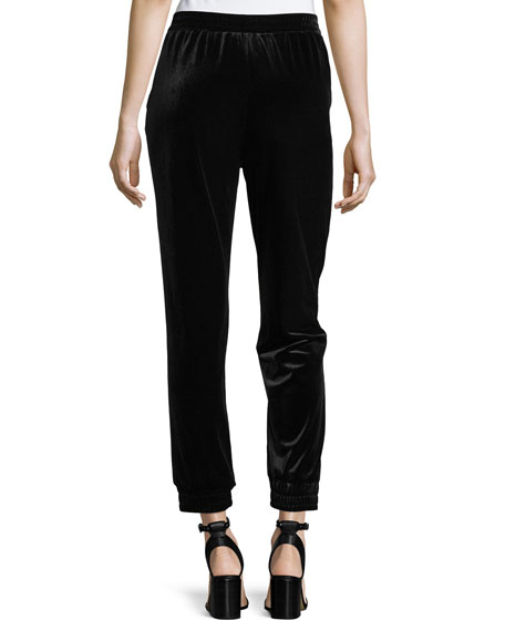 Velvet Cropped Jogger Pants, Plus Size
