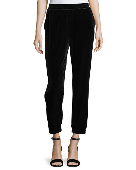 Joan Vass Velvet Cropped Jogger Pants, Plus Size