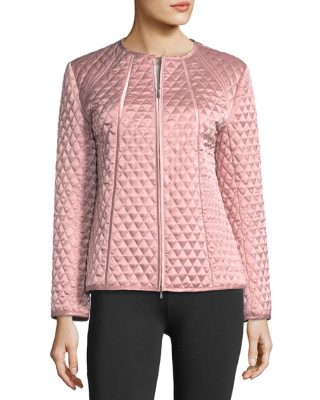 Quilted Satin Zip Jacket, Plus Size