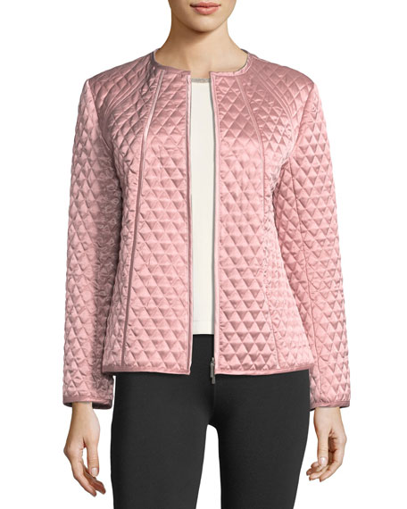 Quilted Satin Zip Jacket, Plus Size