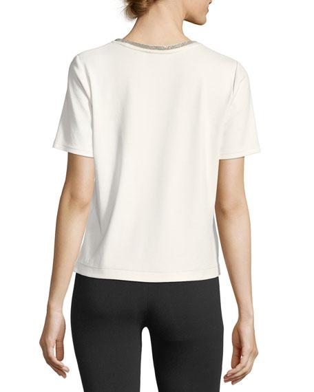 Embellished Crewneck Short-Sleeve Top