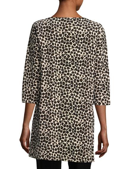 Leopard-Print Velour 3/4-Sleeve Tunic, Petite